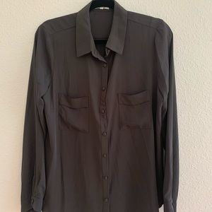 Pleione Olive Green Button Up Blouse